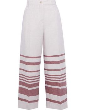 Ridente Cropped Striped Linen And Cotton Blend Wide Leg Pants by Max Mara