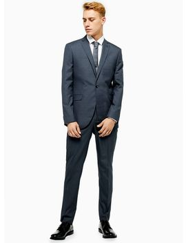 Blue Houndstooth Single Breasted Skinny Fit Suit Blazer With Notch Lapels by Topman