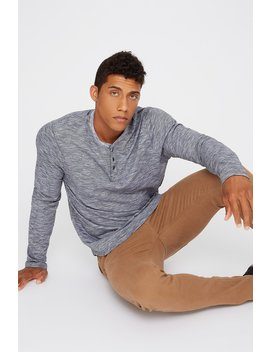 Striped Henley Long Sleeve by Urban Planet