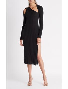 Asymmetric Cutout Ribbed Silk Midi Dress by Oscar De La Renta