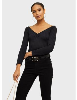 Black Long Sleeve Ruched Bardot Bodysuit by Miss Selfridge