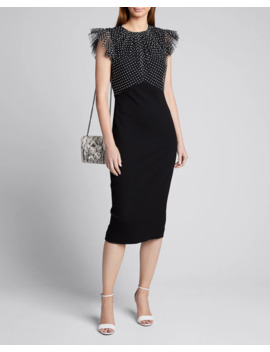 Ruched Polka Dot Lace Stretch Ponte Dress by Jason Wu Collection