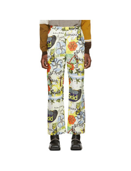 Multicolor Printed Linen Trousers by Martine Rose