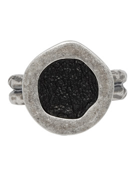 Silver Oval Top Ring by Guidi