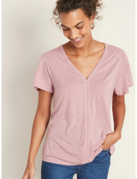 V Neck Shirred Swing Top For Women by Old Navy