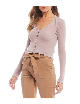 Button Front Long Sleeve V Neck Lettuce Edge Top by Gb