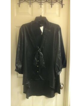 Paper Tee, Women's Plus Size 3 X Silk Black Blouse, Button Up, Nwt by Paper Tee