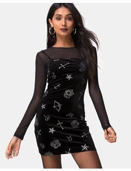 Selah Dress In Black Velvet Medium Astro Glitter By Motel by Motel