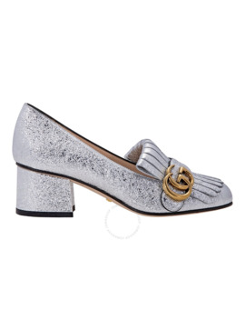 Metallic Silver Mid Heel Pump by Gucci