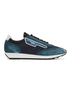Blue & Navy Suede Sneakers by Prada
