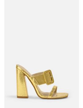 Gold Look Croc Buckle Mules by Missguided