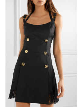 Button Embellished Satin And Lace Trimmed Wool Blend Twill Mini Dress by Versace