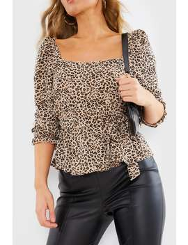 Abileigh Leopard Print Puff Sleeve Belt Detail Top by In The Style
