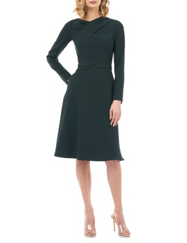 Lennox Long Sleeve Stretch Crepe Cocktail Dress by Kay Unger