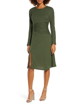 Sleight Of Hand Ruched Waist Long Sleeve Dress by Ali & Jay