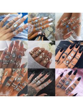 20 Styles Bohème Midi Knuckle Anneau Ensemble Pour Les Femmes Cristal éléphant Couronne Croissant Géométrique Bagues Bijoux Vintage by Ali Express.Com