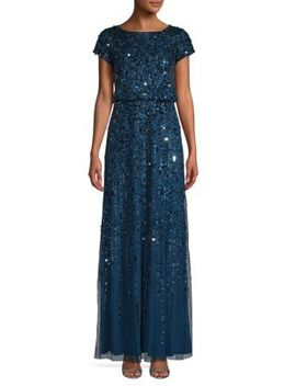 Sequin Short Sleeve Gown by Adrianna Papell
