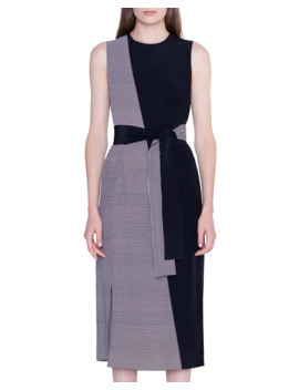 Striped Silk Sleeveless Midi Dress by Akris