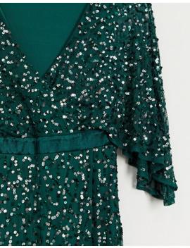 Maya Bridesmaid Delicate Sequin Wrap Maxi Dress In Green by Maya's