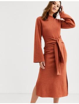 Asos Design Tall Super Soft Crew Neck Tie Front Midi Dress by Asos Design