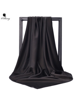 O Chuang Black Women Square Silk Scarf Wraps Autumn Winter Sjaal Luxury Large Satin Scarves Muslim Head Scarf 90*90cm by Ali Express.Com