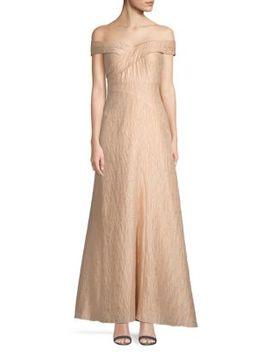 Off The Shoulder Jacquard Long Dress by Aidan Mattox