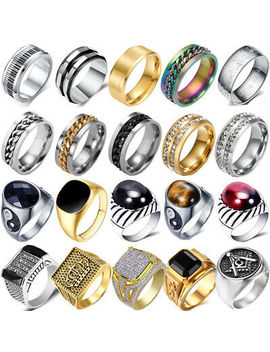 Mens Stainless Steel Silver Gold Rings Gothic Punk Biker Finger Ring Bands Lot by Unbrand
