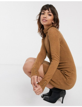 Warehouse Mini Dress With Roll Neck In Tan by Warehouse