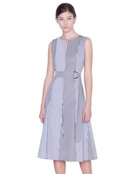 Belted Stripe Midi Dress by Akris Punto