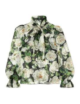 Pussy Bow Floral Print Silk Organza Blouse by Dolce & Gabbana