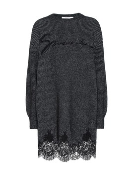 Lace Trimmed Cotton Blend Knit Dress by Givenchy