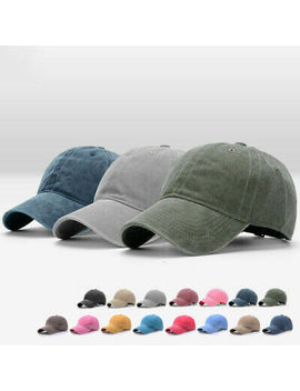 Men Plain Washed Cap Style Cotton Adjustable Baseball Cap Blank Solid Hat Casual by Unbranded