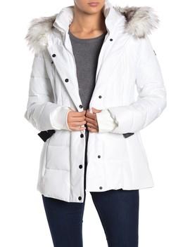 Faux Fur Trimmed Hood Belted Coat by Michael Michael Kors