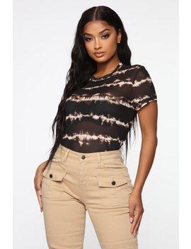Addicted To Tie Dye Mesh Top   Black/Brown by Fashion Nova