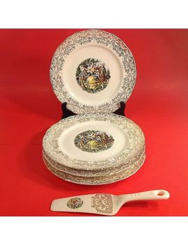 Courting Couple Plates & Cake Server. Set Of 4 Plates & 1 Server. 22 Kt Gold by Royal Queen