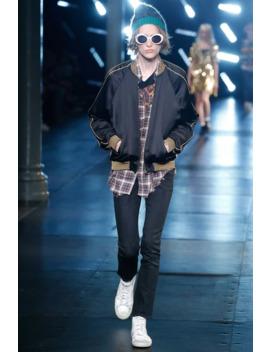 Ss15 Gold Trim Black Satin Souvenir Teddy Bomber Jacket by Saint Laurent Paris  ×  Hedi Slimane  ×