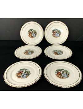 Vintage The Harker Pottery Co Courting Couple Set Of 6 Dessert Plates by The Harker Pottery Company