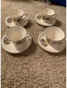 The Harker Pottery Co 22kt Gold Colonial Couple 4 Cup And Saucer Sets by The Harker Pottery Co