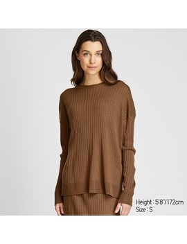 Women Merino Blend Ribbed Oversized Fit Crew Neck Jumper (3) by Uniqlo