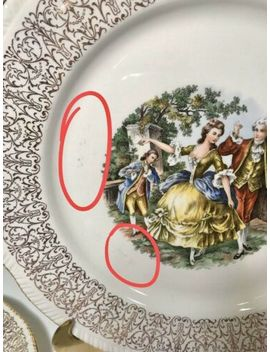 Vintage 1940's Homer Laughlin China, Set Of 9, Courting Couple, 22kt Gold Trim by Ebay Seller