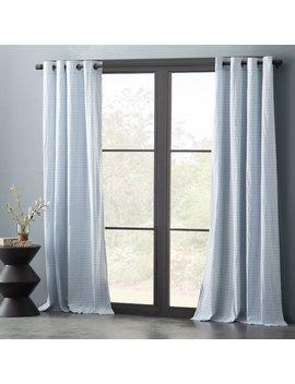 Nolan Cotton Blend Seersucker Striped Semi Sheer Grommet Single Curtain Panel by Eider & Ivory