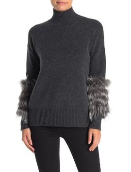 Genuine Fox Fur Trim Cashmere Sweater (Petite) by Catherine Catherine Malandrino