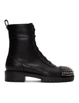 Black Flat Calf Combat Boots by Christian Louboutin