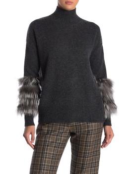Mock Neck Genuine Fox Fur Sleeve Cashmere Sweater by Catherine Catherine Malandrino