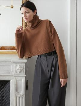 Brown Turtleneck Layering Sweater by Pixie Market