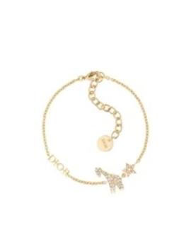 Armband Diorable Met Giraf Van Goudkleurig Metaal En Witte Kristallen by Dior