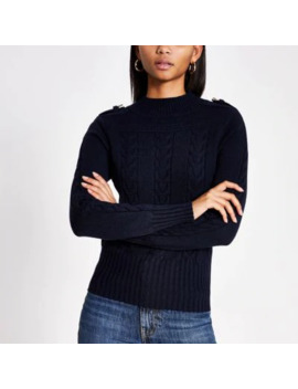 Navy Long Sleeve Cable Knitted Jumper by River Island