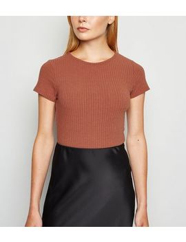 Rust Ribbed Crew Neck Bodysuit by New Look