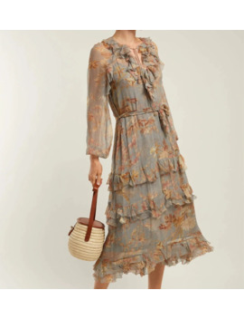 Women Ruffle Trimmed V Neck Grey Unbridled Cascade Floral Print Silk Dress With Tie Belt by Ali Express.Com