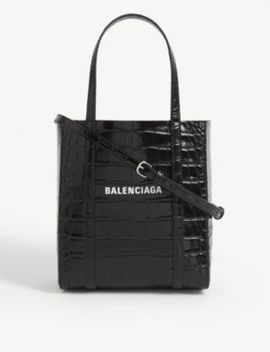 Everyday Croc Embossed Leather Tote Bag Xxs by Balenciaga